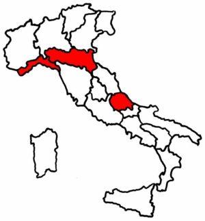 1 イタリアのカラー地図縮小